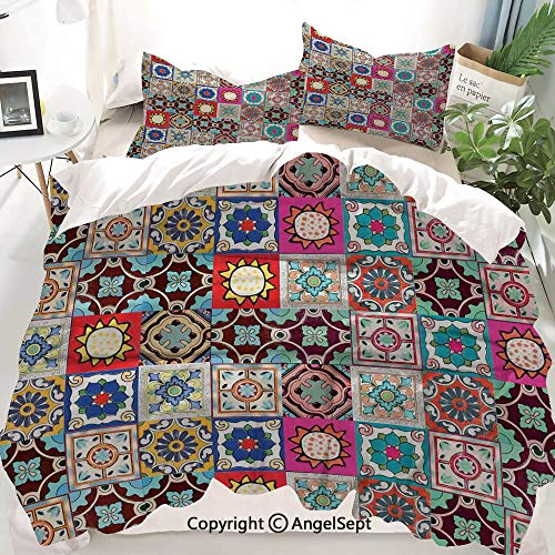 Moroccan Decor Duvet Cover Set Queen Size,Collection of Ceramic Mosaic Tiles and Figures with Mathematical Geometric Artful,Decorative 3 Piece Bedding Set with 2 Pillow Shams