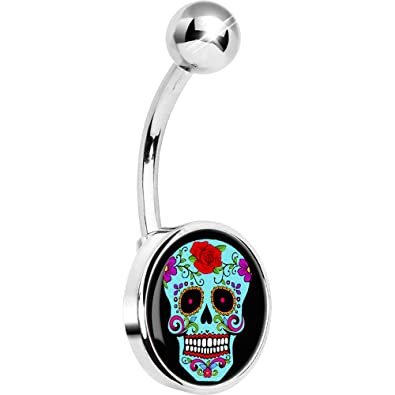 Body Candy Unisex Adult Blue Sugar Skull Belly Button Ring