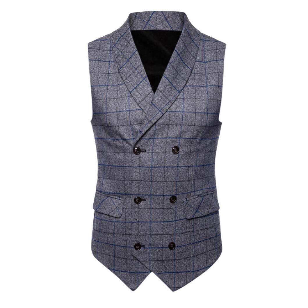 iLXHD Casual Men Plaid Printed Sleeveless Jacket Coat Suit Vest Blouse by iLXHD (Image #1)