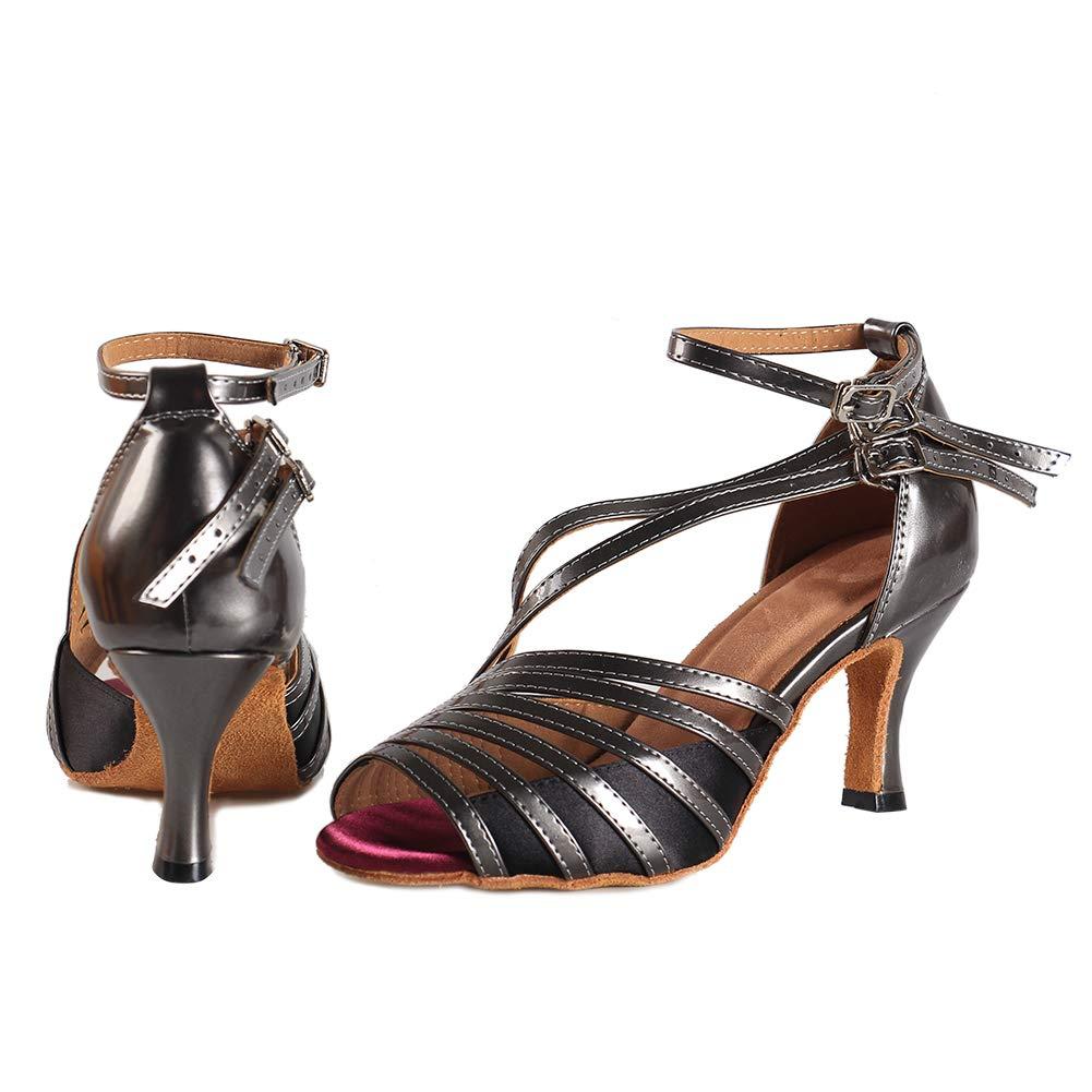 YKXLM Nuevas Mujeres Zapatos de Baile de Tango Sal/ón de Baile Latino Zapatos de Baile de Sat/én para Mujeres Salsa Zapatos de Mujer,Modelo ESYCL028