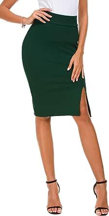 EXCHIC Women's Pencil Skirt Bodycon Business Skirt Side Slit Hem
