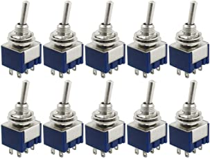 Yueton 10 Pcs AC 125V 6A Amps ON/ON 6 Terminals 2 Position DPDT Toggle