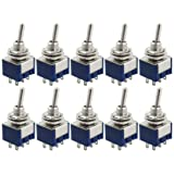 yueton 10 Pcs AC 125V 6A Amps ON/ON 6 Terminals 2 Position DPDT Toggle Switch