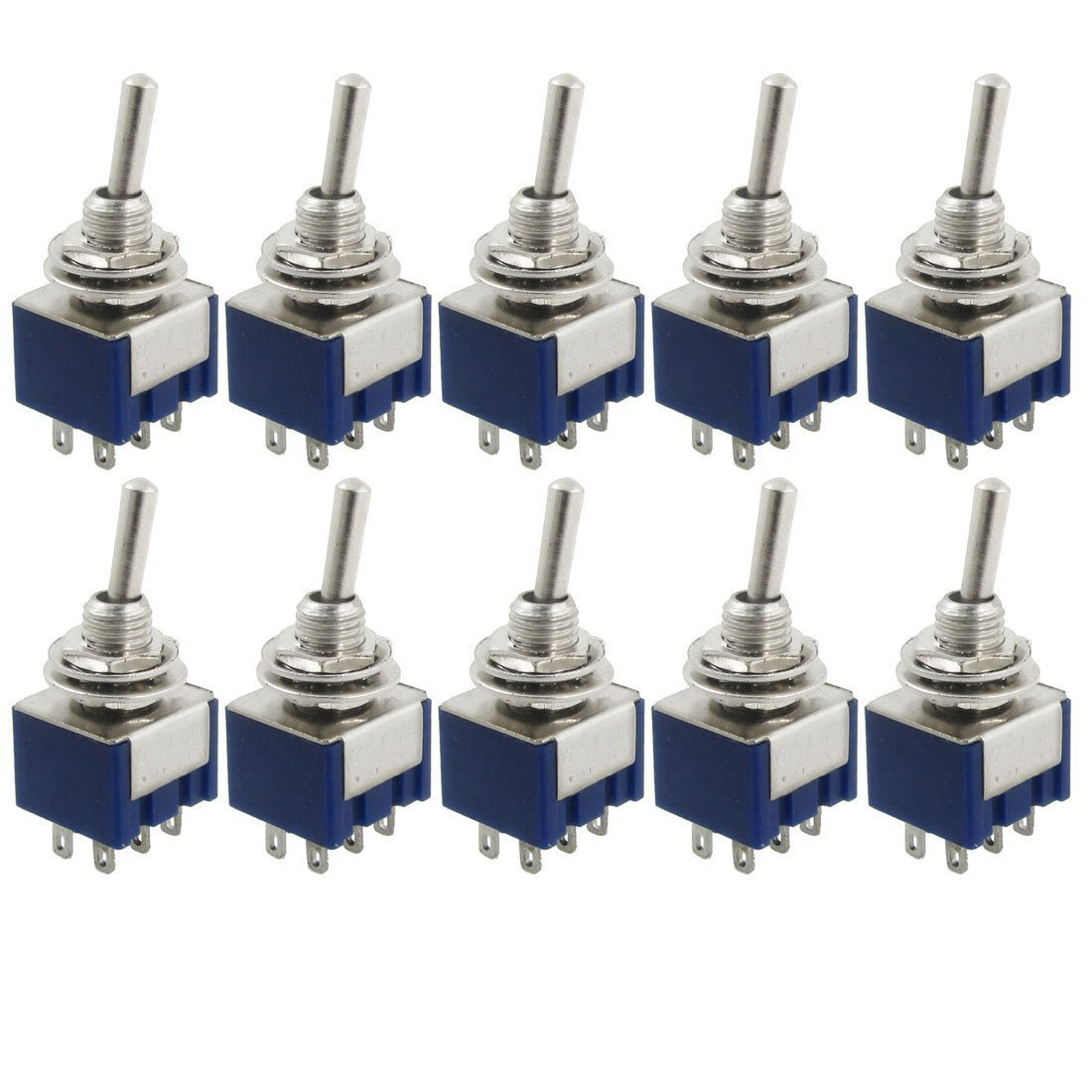 HiLetgo 10pcs MTS202 AC 125V 6A Amps ON/ON 6 Terminals 2 Position DPDT Toggle Switch