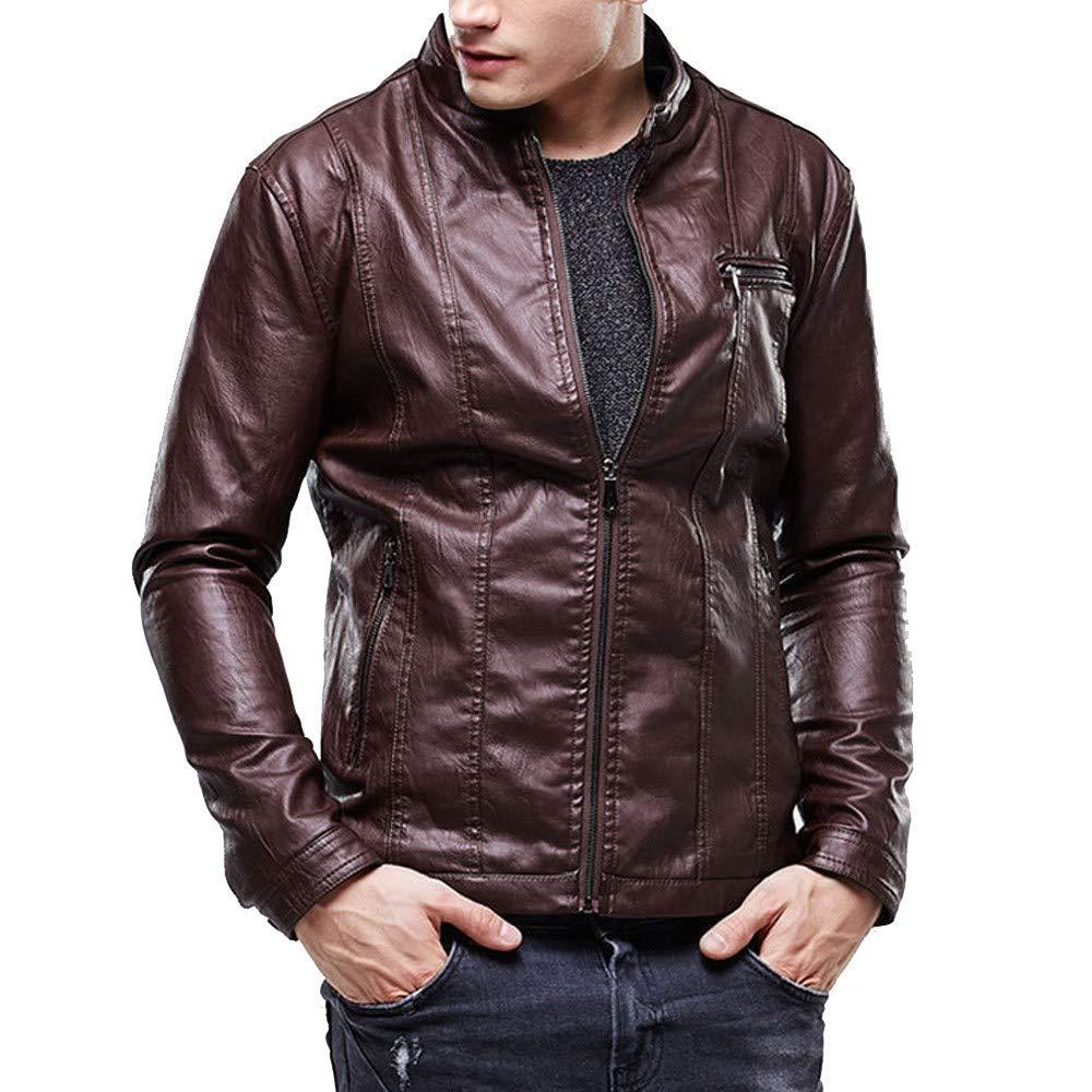 Dacawin Men Winter Leather Jacket Biker Motorcycle Zipper Plus Velvet Slim Solid Color Outwear Coat