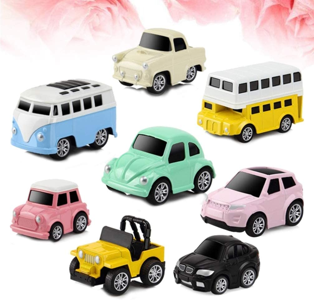 NUOBESTY 8PCS Alloy Friction Powered Pull-Back Cute Car Toy Vehicles for Baby Toddlers Playing Gifts Kids Car Toy Vehicles