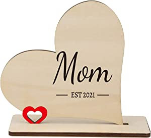 PRSTENLY New Mom Wooden Heart Plaque Gift, Est. 2021, Home Decorations Ornament, Mother's Day, Birthday, Thanksgiving Keepsake Gift for Women Mom Wife Friends 14x16CM