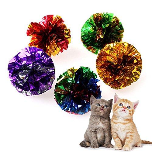 Agordo 1PC Cat Pet Kitten Toys Shiny Crinkle Crackle Colorful Balls Lightweight Cute - Mirror Sardine