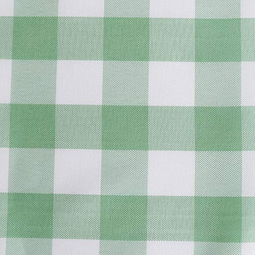 Zdada 150cm x 260cm Checked Tablecloth Polyester Plaid Table Cover Linen Grass Green and White Checker -