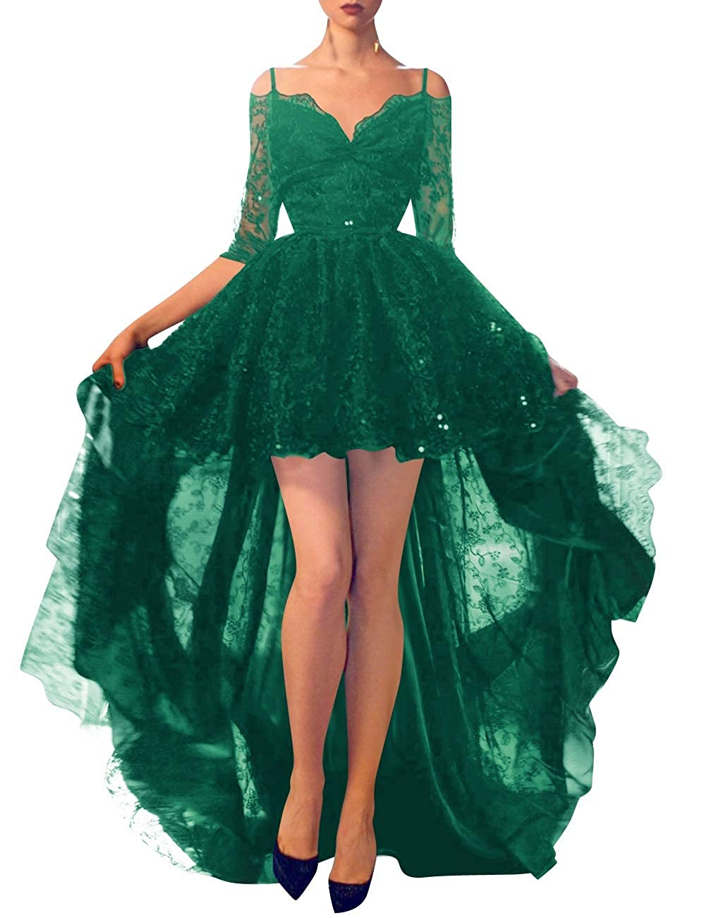 Dark Green MorySong Women Lace High Low Cocktail Dress Half Sleeve Off Shoulder Prom Dress