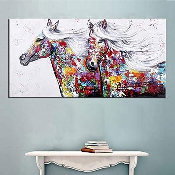 Leinwand Bild bunte Giraffe Ölgemälde Abstrakte Wandbild Poster Wandmalerei Deko