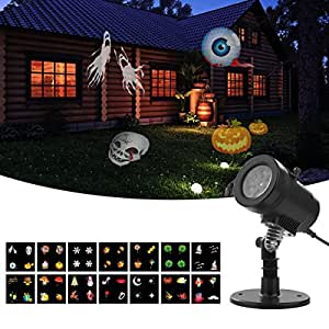 Lightess Halloween Light Projector Outdoor Indoor Holiday Decorations Waterproof LED Landscape Spotlight for Christmas Theme Party Store Window Landscape and Garden, 14 Patterns, UL Listed, YG-FL02