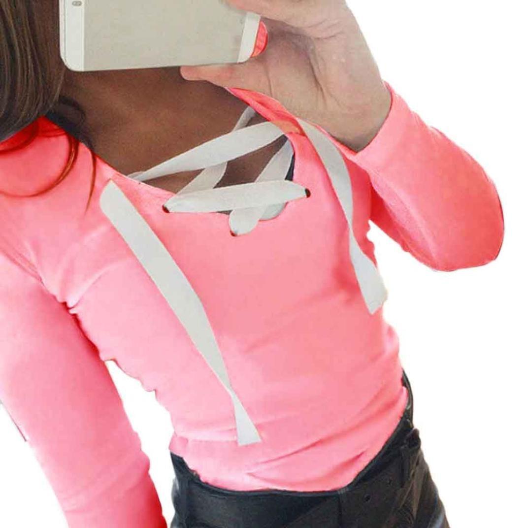 (S, Pink) - T-shirt,BeautyVan Fashion Beautiful Women Fashion Long Sleeve Bandage Casual Sports T-shirt (S, Pink) S ピンク B01MZ5ZJPT