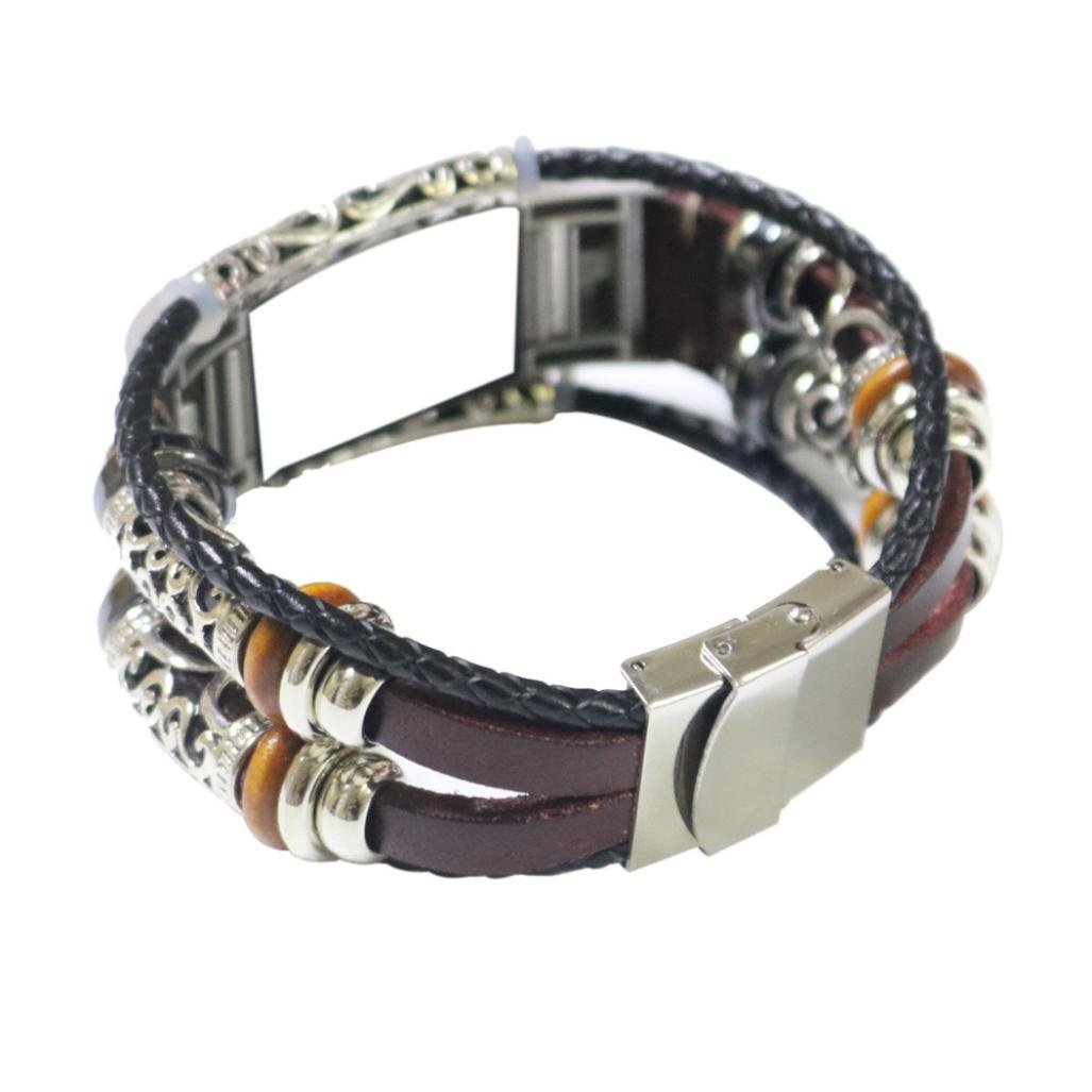 Bracelet For Fitbit Charge 2 Replacement Leather Wristband Bands Band Strap (Wine) by WEIJIJ (Image #1)