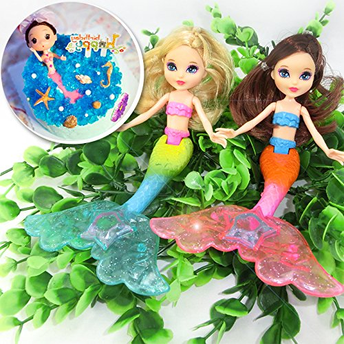 - 2-Piece Mermaid Doll Toy for Girls or Cake Decoration,Swim in the Water at Bath Time, the Pool, and Beach(Random Color)