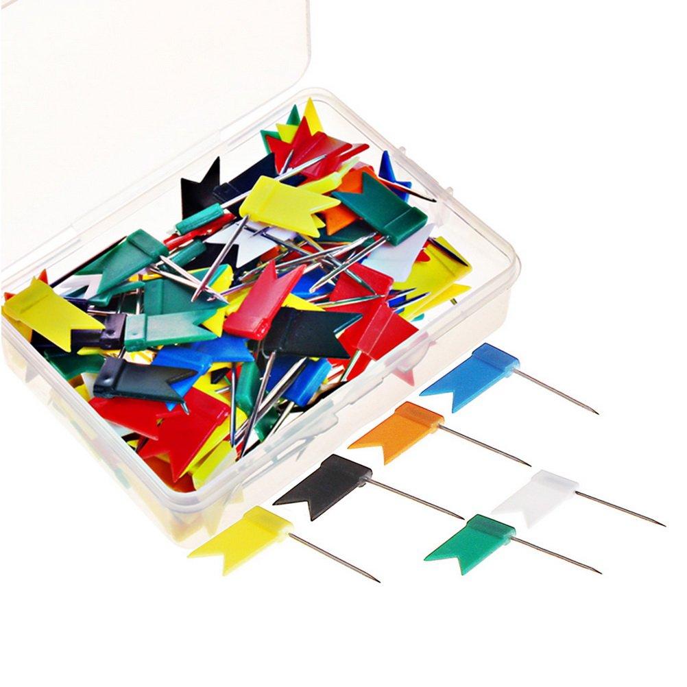 100 pezzi Map Pins, Sicai Map Flag Push Pins Tacks, assortiti 7 colori
