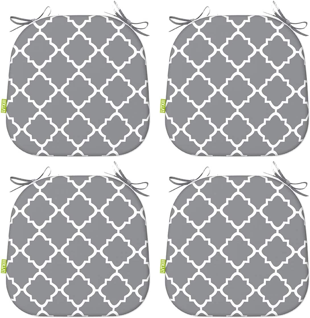 """LVTXIII Indoor Outdoor Seat Cushions, All Weather Patio Accent U-Shape Chair Pads 16"""" x 17"""" for Garden Patio Furniture Home Office Decoration Set of 4 – Geomentry Grey"""
