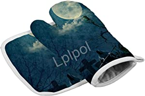 Lplpol Carnival Horror Background Heat Resistant Glove Oven Mitts Hot Pan Mat Kitchen Cooking Tool for Microwave Oven Baking Barbeque Men Women 2pcs Set