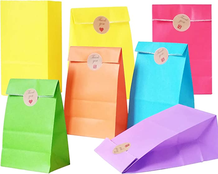 Future life 60 pcs Solid Color Party Favor Paper Bags, 5.2 * 3.2 * 9.6 Inch, Food Safe Kraft Paper and Ink, Natural (Biodegradable), Vivid Colored Gift Bags, Give Away Bags.