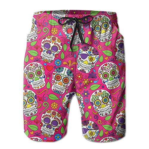 FANTASY SPACE Mens The Dead Sugar Skull Swim Trunks Swimwear for Beach Athletic Hiking - Extreme Comfort Quick Dry Loose Full Elastic Drawstring Board Shorts Big & Tall Cargo Short -