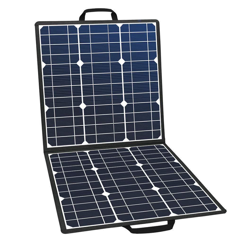 GOFORT Portable Foldable Solar Charger Solar Panel 18V 50W Dual High Efficiency Solar Panel Waterproof Backup Battery Pack for Outdoor Camping Climbing Hiking Travel