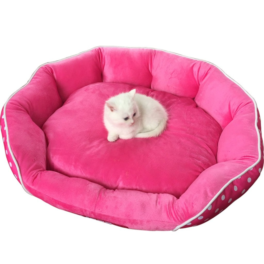 Beds Pink Round pet bed Four Seasons Cotton cat Litter and Kennel 28  26  7 inches