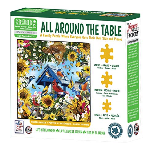 The Jigsaw Puzzle Factory 77321 All Around The Table Life in The Garden with Flowers & Birds Puzzle Kids Games for 12+ Age, 320Piece Jigsaw Puzzle
