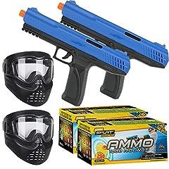 2 - JT SplatMaster z100 Paintball Pistol .50 Cal - Blue 2 - Cases of JT SplatMaster 1000 count Ammo 2 - Gen X Global GXG XVSN Paintball Mask Goggle - Black