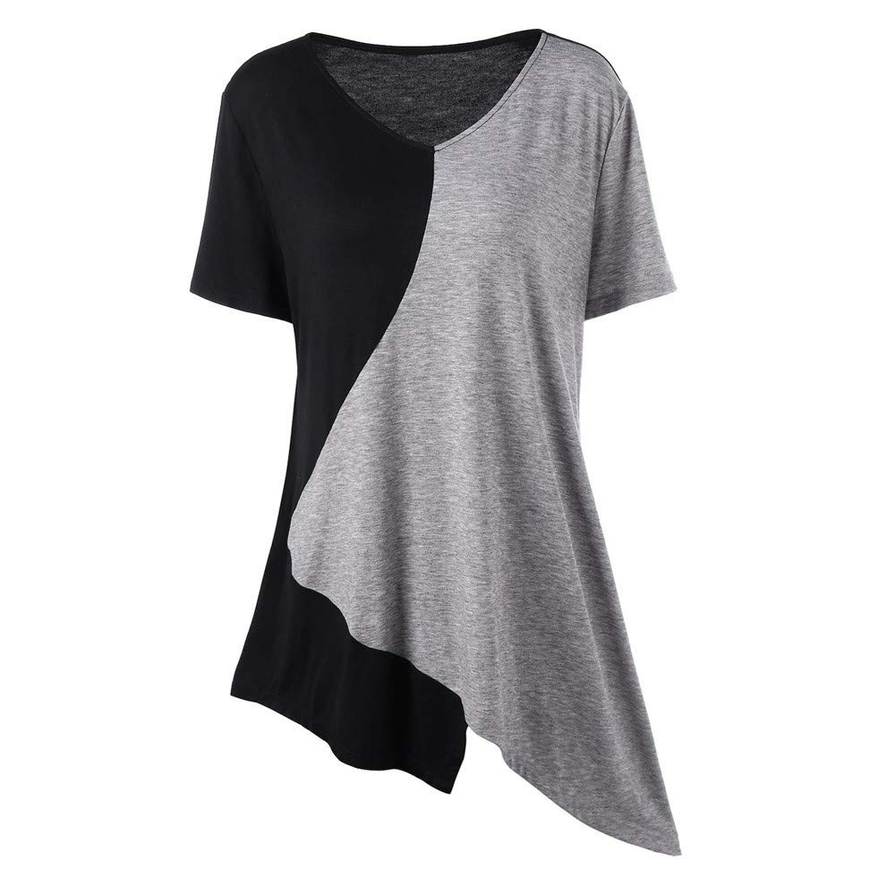 Tops Womens Plus Size,Fashion Loose Pullover T-Shirt Trim Asymmetrical Color Block Casual (Black, XXL)
