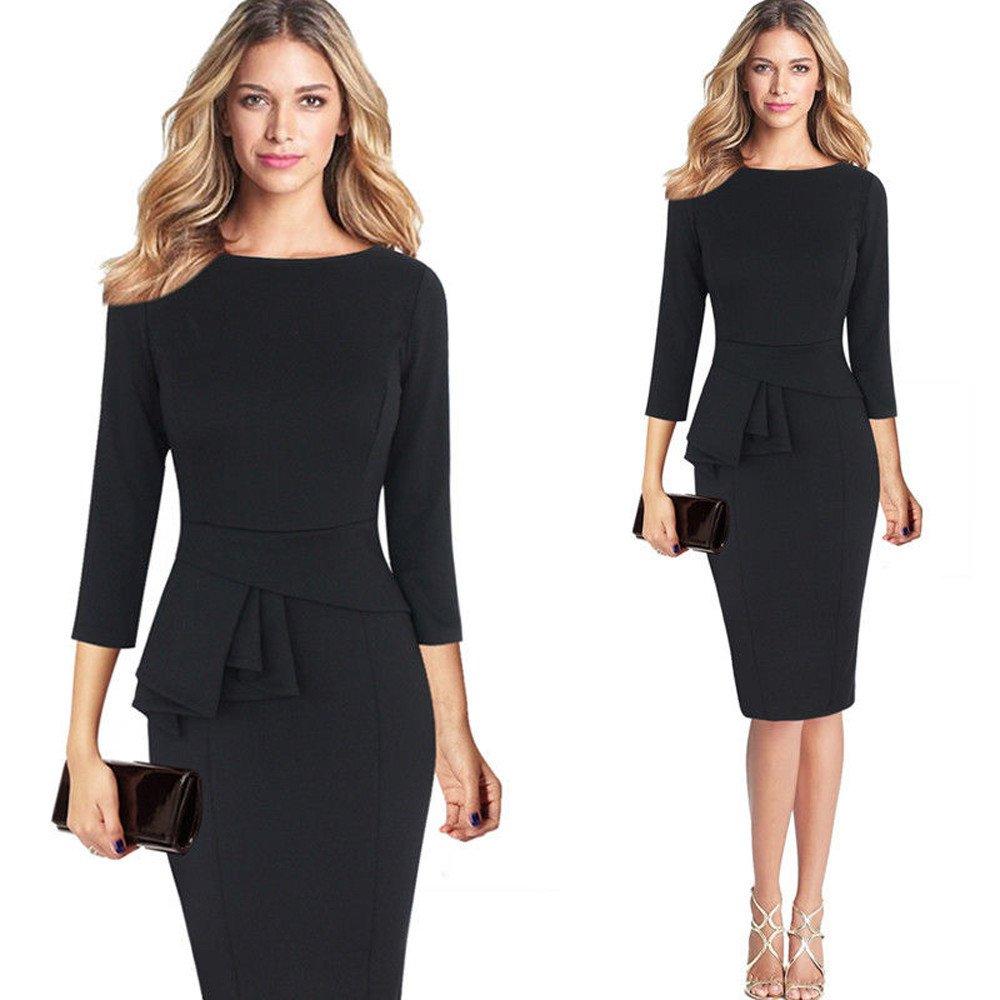 Womens Working Dresses,NEWONESUN Ladies Elegant Frill Peplum 3//4 Gown Sleeve Work Business Party Sheath Mini Pencil Dresses