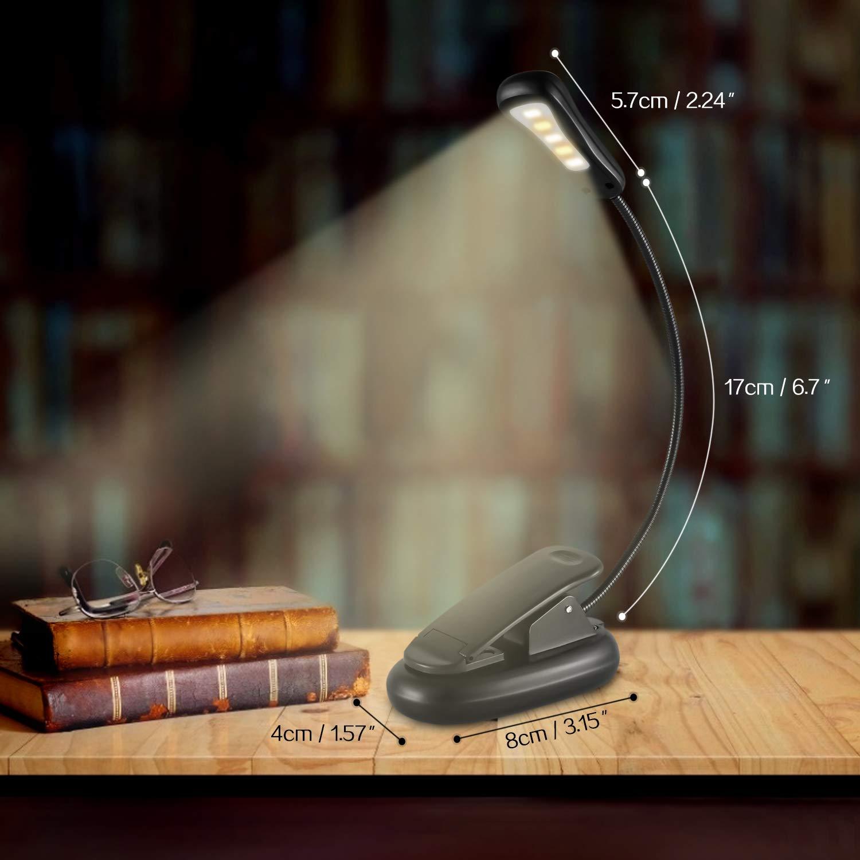Leselampe 5LED Buchlampe mit USB Wiederaufladbar Klemmleuchte mit flexibel Clip klemmlampe dimmbare 9 einstellbarer Helligkeit Leselicht Nacht Lesen Buch Leseleuchte f/ür Kindle Buch Ipad eBook