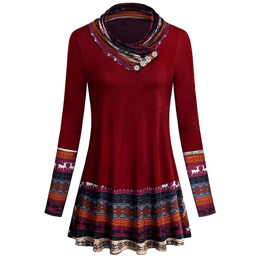 Oliviavan Women Fashion Coat, Ladies Long Sleeve Christmas Deer Print Casual Loose Tops Tunic Blouse Shirt