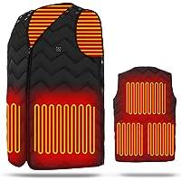 最新版 加熱ベスト 5つヒーター サイズが調節可能 USB充電式電熱ベスト 3段階の温度制御 電熱ジャケット 保温 防寒 大雪対策 男女兼用 通勤通学/屋外作業/スキー/スケート/登山/お釣り/ハイキング/生理冷え性に対応