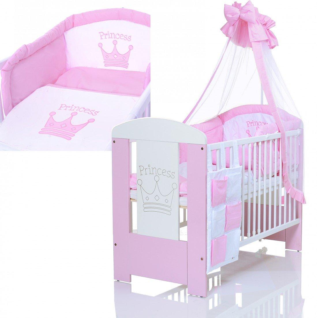 Kinderbett 120x60 inkl. Matratze und Bettwä scheset 3-fach hö henverstellbar | 3 Schlupfsprossen weiß -rosa LCP Kids 97