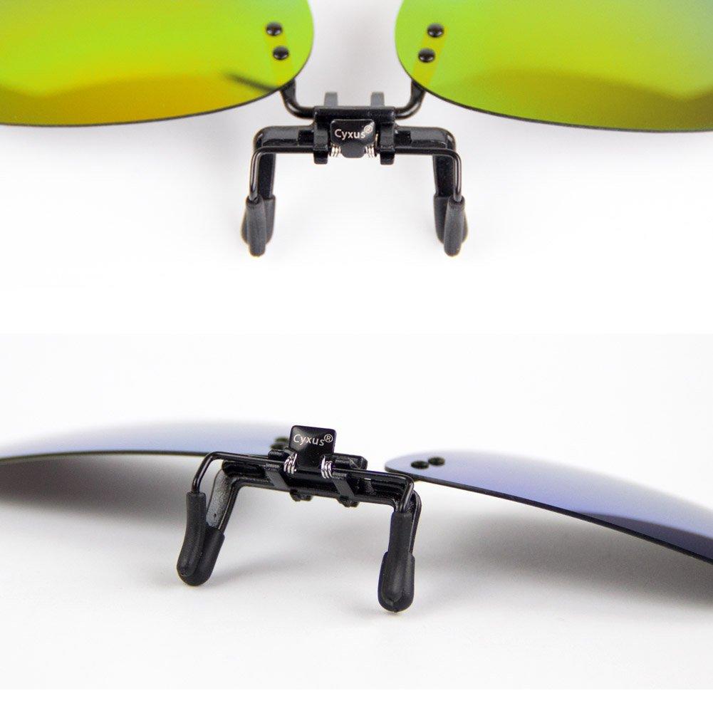 Cyxus lunettes de soleil à verres « Aviator » à effet miroir, polarisées,  verres correcteurs à clipser Anti-reflet Protection UV Lunettes de ... 8b81e4e50698