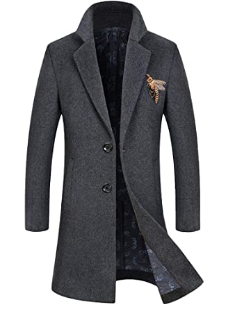 9a360df9166a Mallimoda Herren Mantel Wollmantel Lang Slim Fit Business Überzieher  Embroidery Jacken  Amazon.de  Bekleidung
