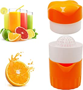Hyshina Hand Juicer Citrus Orange Squeezer Manual Lid Rotation Press Reamer for Lemon Lime Grapefruit with Strainer and Container