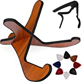 Guitar Stand,Universal Acoustic Wooden Guitar Stand with Guitar Capo & 8 Guitar Picks, Detachable Guitar Holder for…