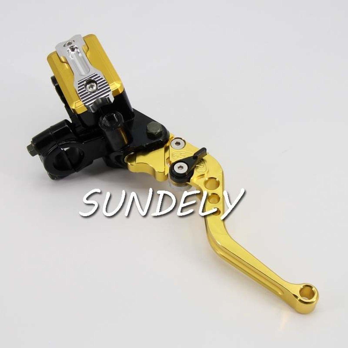SUNDELY/® 7//8 7//8 Universal Gold CNC Motorcycle Brake Master Cylinder Clutch Lever Reservoir