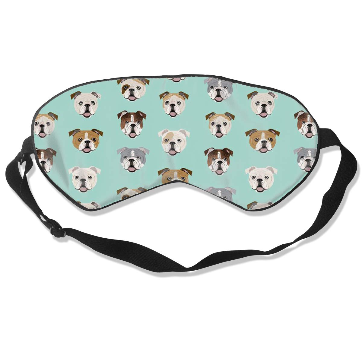English Bulldog Dog Mint Green Sleep Mask, Women Men Light Blocking Comfortable Sleeping Mask, Adjustable Night Eye Mask for Sleeping, Memory Foam Blindfold for Home Travel Hotel