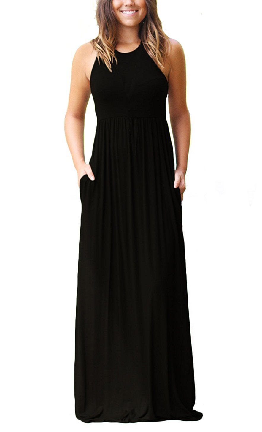 GRECERELLE Women's Round Neck Sleeveless A-line Casual Maxi Dresses with Pockets Black-L