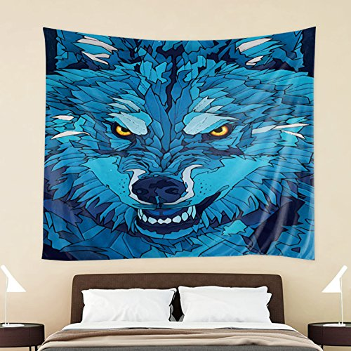 60' Tapestry Throw Blanket (HOKWAY Wolf Elk Octopus Eagle Animal hand-painted Tapestry Wall Hanging Art Decor Polyester Fabric Decorative Bedspread Picnic blanket Beach throw (60'' x 60'', G))