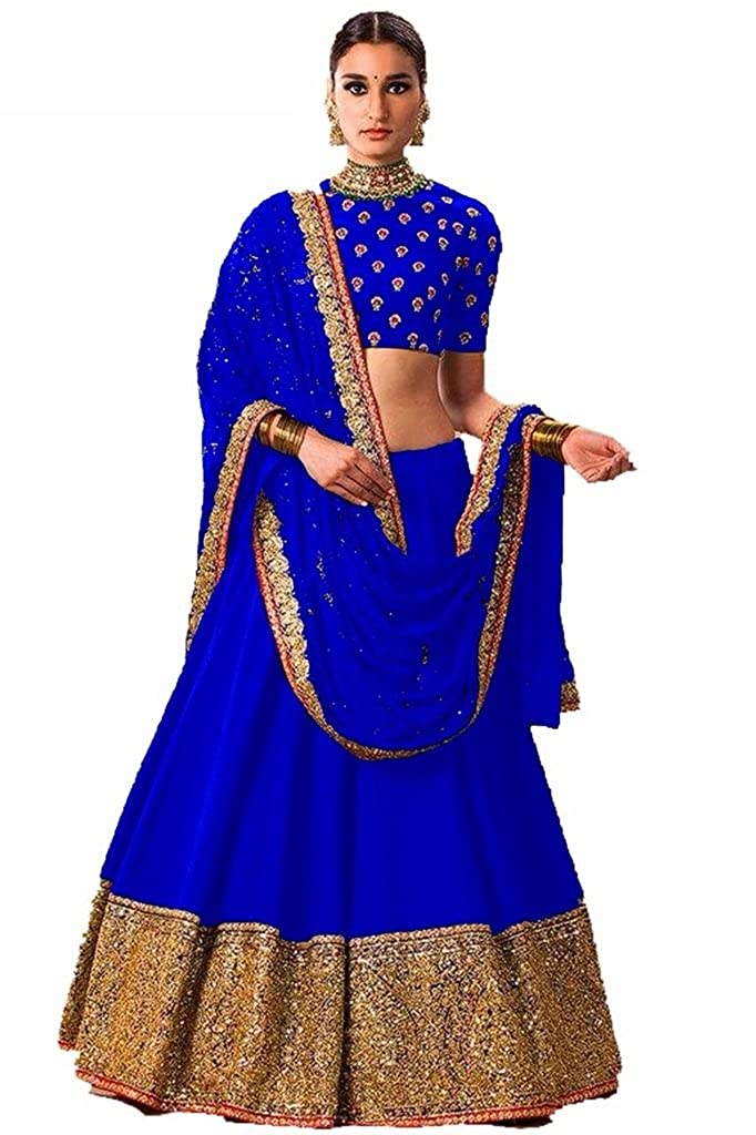 276c92e685 D H Creation Women's Blue Benglori silk Semi Stitched Lehenga Choli ...