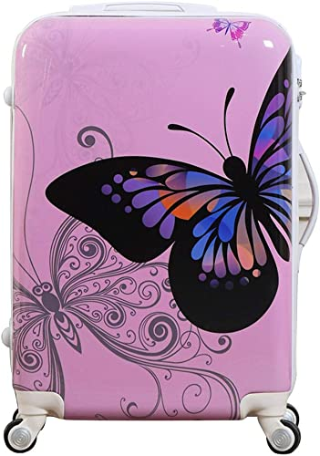 White ABS Suitcase Cartoon Colorful Butterfly Pattern Carry On With Universal Wheels 24 in Lockable Luggage Case Pink, 24in