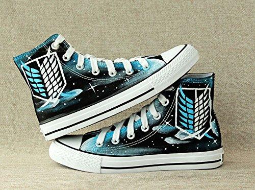 Angriff auf Titan Shingeki Keine Kyojin Cosplay Schuhe Segeltuch-Schuhe Handgemalte Schuhe Turnschuhe Sternenhimmel