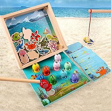 TOY Los Niños Juguetes De Madera, Juegos Magnéticos De Pesca del Juguete del Juego, Los Niños Peces 3D, Juguetes Educativos para Niños, para 2 3 4 5 Años Y Encima De La