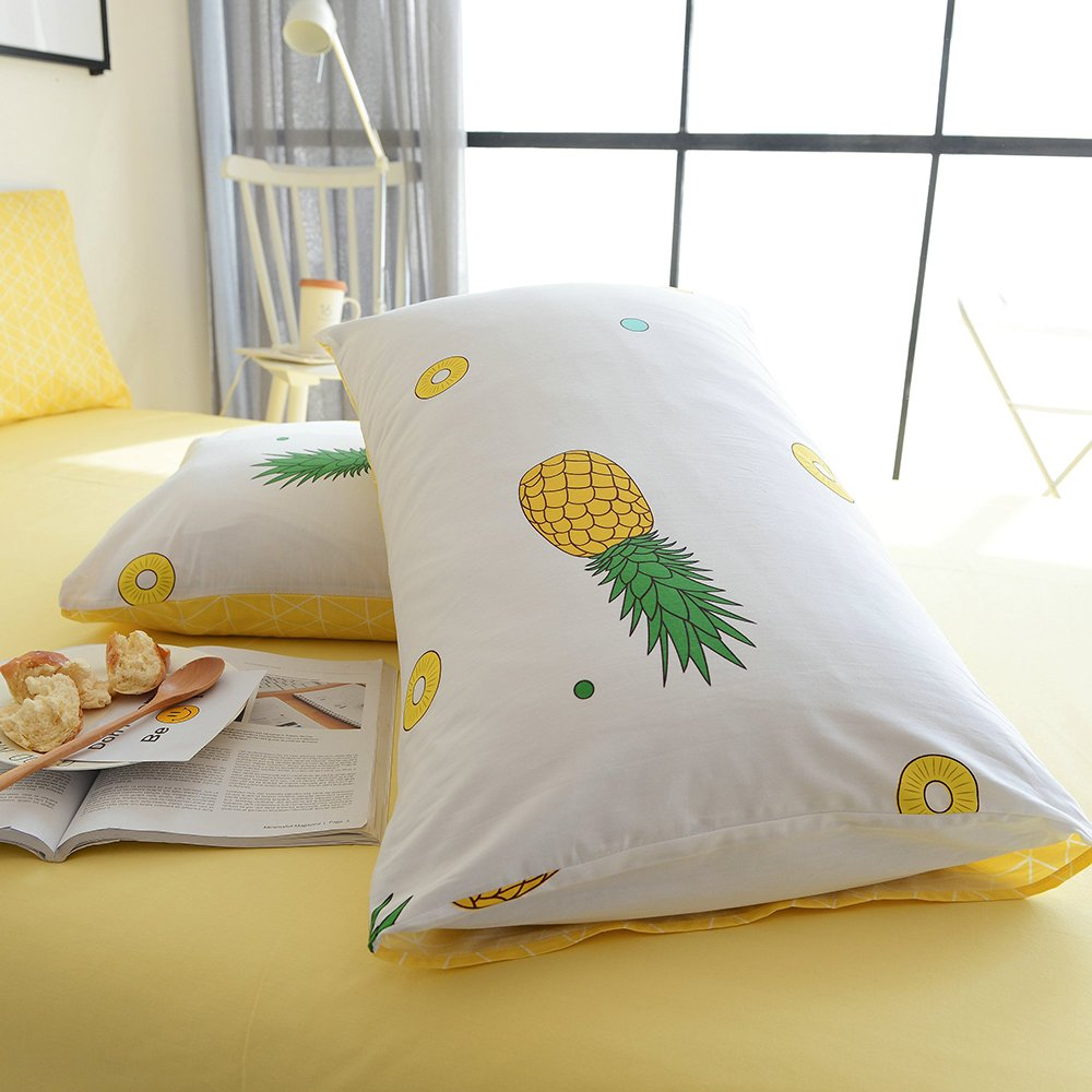 BuLuTu Cotton Pineapple Print Bed Pillowcases Set of 2 Queen Off White Pillow Covers Decorative Standard For Boys Girls Envelope Closure End-Premium,Ultra Soft,Hypoallergenic (2 Pieces,20''×26'')
