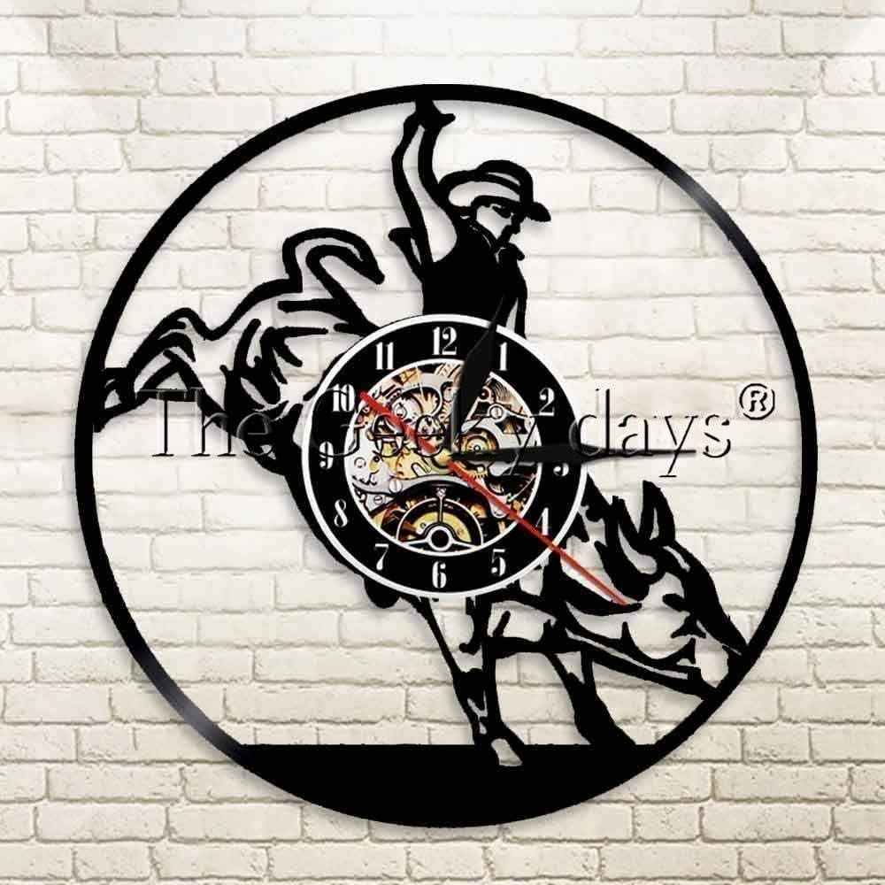 xiaoxong658 Bull Rider Vaquero Caballo Paisaje Arte Vinilo Registro Reloj Matador Luminoso Pared Reloj Silla Mural Moderno 30 × 30 Cm