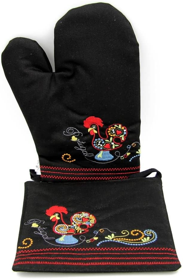 Suspiro d'Algodão 100% Cotton Oven Mitt and Pot Holder Set with Embroidered Rooster Design