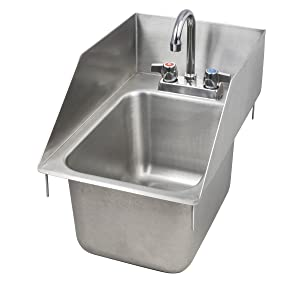 "John Boos PB-DISINK101410-P-SSLR Deck Mount Pro-Bowl Drop-In Hand Sink, 14"" Length x 10"" Width x 10"" Depth, PBF-4-D Faucet, Left and Right Hand Side Splash"